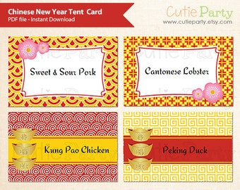 new year editable food tags buffet card gift tags table place cards
