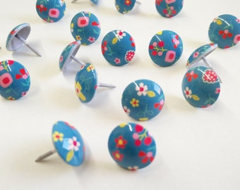25 Decorative nails painted blue with flowers upholstery nails