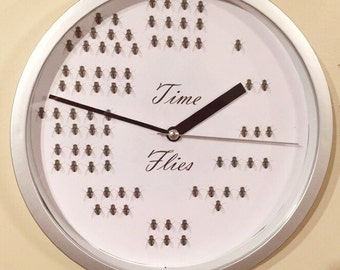 Time Flies Wall Clock / fly clock / funny wall clock / adult clock / unique wall clock / funny kids clock / funny design clock / modern cloc