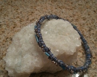Handmade dusty blue beaded bracelet