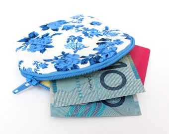 Brilliant Blue Floral Zipper Coin Purse