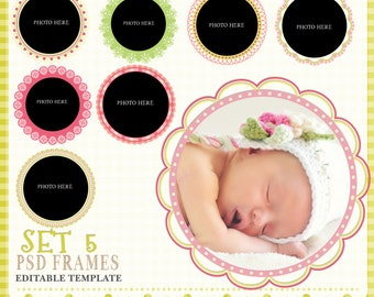 Round Frames, Psd Frame templates,  Digital Frames, whimsy Frames, Scrapbook Frames, Frame Clipart,  Instant Download, Set 5
