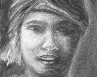 "Original charcoal drawing ""Bédouine"" - Free shipping"