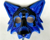 Bright Colored Leather Wolf Mask Black Light Wolf Mask Blacklight Mask