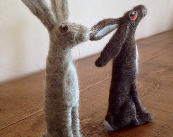 Hare needle felted fibre art MADE TO ORDER using a selection of quality wool tops