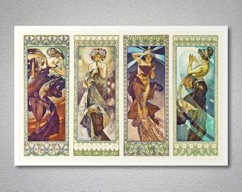 Moonlight, Polar Star, Morning Star and Evening Star by Alphonse  Mucha -  Poster Print, Sticker or Canvas Print