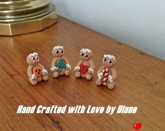 Set of 4 Holiday or Season Miniature Gingerbread Figurines Hand Crafted Polymer Clay