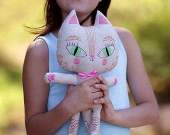 Cat doll, stuffed animal, plushy, kitty toy, nursery decor, baby shower gift, kid's present, children's gift, soft toy, handmade doll