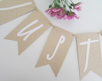 Just Married Banner | Rustic Wedding Banner | Just Married Sign | Wedding Bunting | Getaway Car Banner | PREORDER to Ship in August