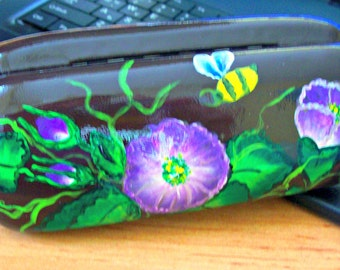 Case eye / hand painted / one stroke/CASE for GLASSES/  flowers