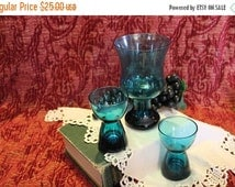 Fall CLEARANCE Sale Lot of 3 Fostoria Glass Retro Teal Glass Candle Holders made in Morgantown Plant