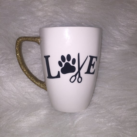 Pet Groomer Glitter Handle Mug