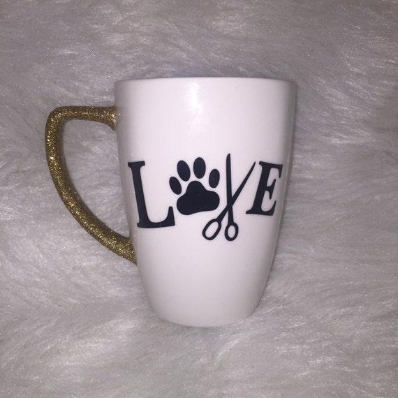 Pet Groomer Glitter Handle Mug