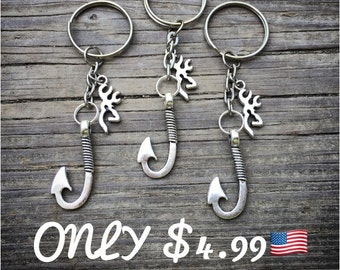 Fish hook buck head keychain SALE (listing is for one)