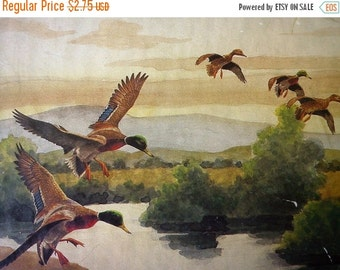 25% OFF 60s Print/ Vintage Print by Charles E. Murphy Depicting Ducks in Flight Over a Lake with a Crane /Duck Print/ Shabby Chic
