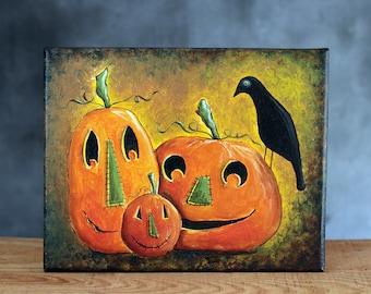 Halloween Art, Folk Art Painting, Pumpkin Painting, Halloween Decor, Halloween Painting, Halloween Folk Art, Jack o Lantern Painting
