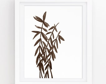 Woodland art, Botanical illustration, Rustic decor primitive country, Plant printable, Tree painting, Brown wall art, 5x7, 8x10, 11x14, 229a