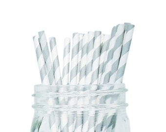 Grey  Striped Party Paper Straws 25pcs SPS250070 Just Artifacts Brand