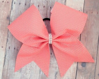 Coral cheer bow - cheer bows - team cheer bow - dance bows - volleyball bows - christmas gifts for cheerleaders