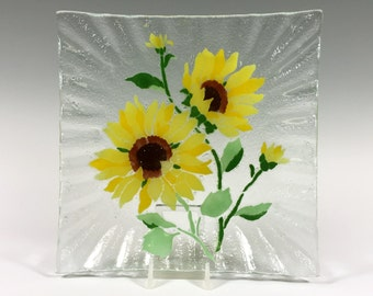 Sunflowers, Sunflower Plate, Fused glass, Sunflower Decor, Serving Dish