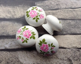 Set of 6 drawer pulls |Decoupaged handles | drawer handles| drawer knobs | shabby chic rose design |