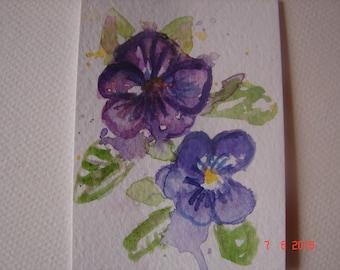 Viola Flower floral ACEO Painting, Viola Art aceo miniature Violas floral ACEO pansy flower watercolour artist trading card, Australian art