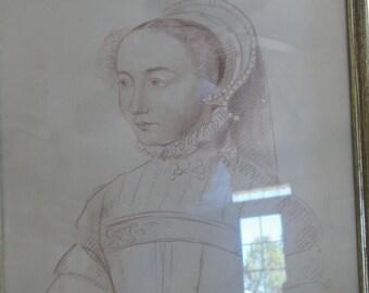 Vintage Renaissance French Lady Print