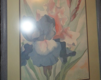 Vintage Lilac Flower Watercolor/ Signed