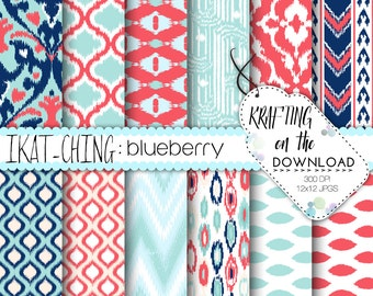 coral and teal digital paper pack ikat design coral mint teal navy scrapbooking papers summer beach digital paper boho paper pack
