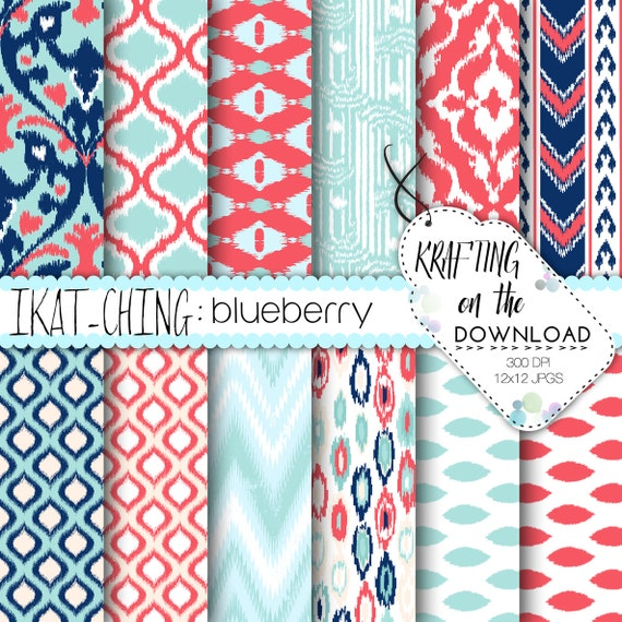 Coral and teal digital paper pack ikat design coral mint teal navy scrapbooking papers summer beach digital paper boho instant download