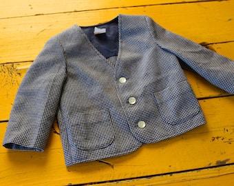 Vintage BABY BOY Blue & White Houndstooth Blazer size 2T, vintage baby boy outfit, 1950's boy 2T, retro boy blazer 2T, vintage boy 2T