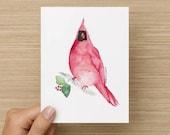 Christmas Card, Holiday Card, Happy Holidays, Folded Greeting Card, Vintage Christmas, Winter Card, Hand painted, Cardinal, Bird, Classic