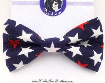 Patriotic Stars / Dog Collar Bow Tie / Patriotic Dog Bow Tie / Bow Tie / Red White Blue / Star Spangled / Independence / July 4 / Summer