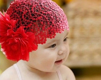 Baby Girl Kids Toddler Red Lace Flower Headband