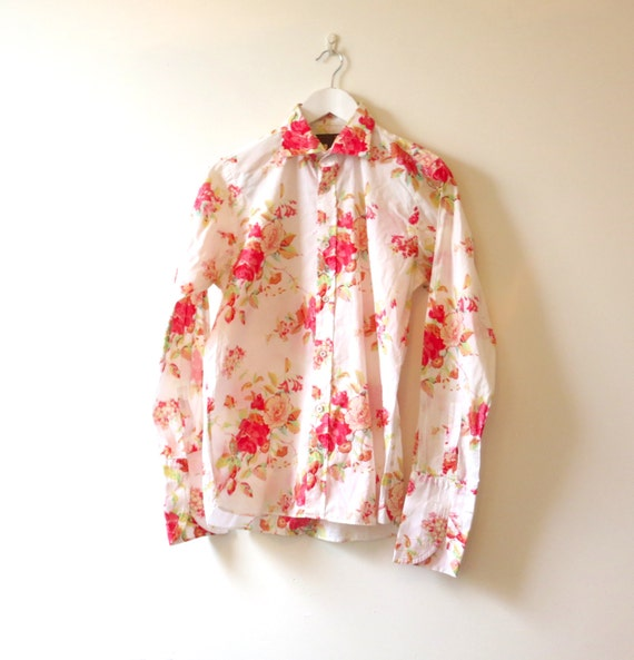 Vintage ted baker shirt floral shirt cuff link shirt for Ted baker floral shirt