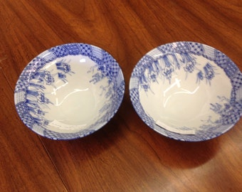 Oriental Blue and White Bowls - Pair