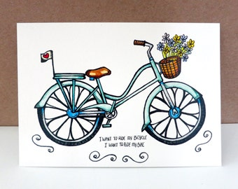 Bicycle Race Copic Marker Illustration Print Vintage Blue Bicycle Drawing
