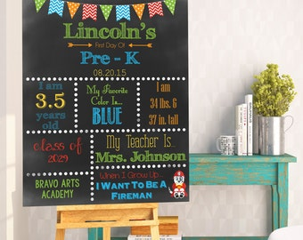 First Day Of School - Last Day of School Chalkboard Stat Photo Prop