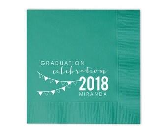 Grad Flag Personalized Napkins - Set of 100 - Custom Printed Napkins, Foil Stamped Napkins, Party Favors, Graduation