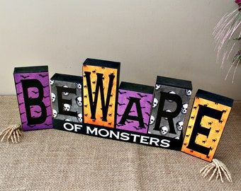 Halloween Wood Blocks, Beware of Monsters Decor, Halloween Wood Decor, Wood Blocks Art, Beware of Monsters Sign, Reversible Blocks Option