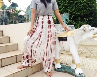 Ladies Handmade Tie Dye Deep Drop Pants. Extra Wide Smock Waist Ivory