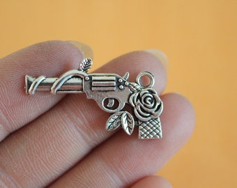 Gun And Rose Charms - Southwestern Charms - silver gun Jewelry Supplies 31x19mm