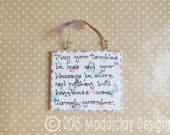 Home Blessing Quote New Home Housewarming Gift Plaque Wall Hanging Card Alternative