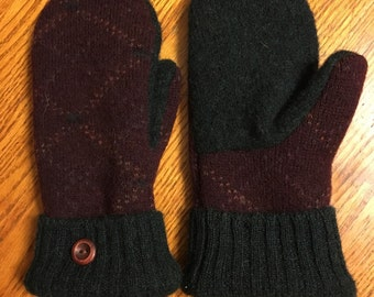 Dark burgundy and forest green Handmade upcycled wool sweater mittens