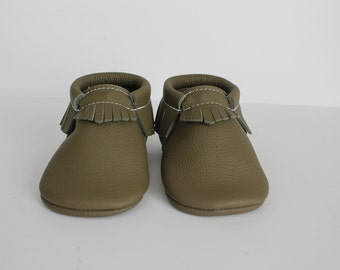 Olive Green Leather Baby Moccasins