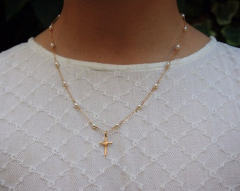 14K Gold Filled Wire Wrapped Chain with Pearls and Cross Pendant  - Cross Necklace - First Communion Necklace - 10%OFF Coupon Code: HAPPY10
