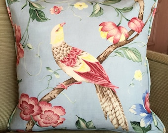 Scalamandre 'Orienteaux' Fabric Pink on Blue Down filled throw Pillow 18""