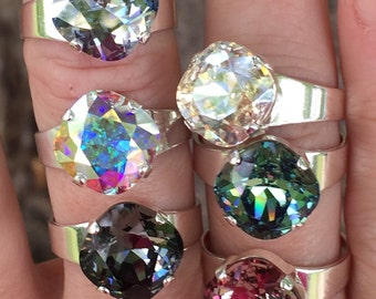 Pick Your Color and Finish~ Swarovski Crystal Ring, 12mm Cushion Cut, Crystal Statement Ring