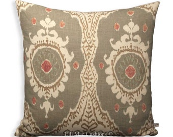 Lewis and Wood Ikat Bukhara Linen Designer Fabric Cushion Pillow Cover Green