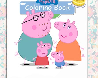 peppa pig party favor mini coloring book instant downloadprintable party favour - Peppa Pig Coloring Book